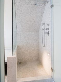 Nice way to do shower if it needs to abut the bath, with half wall tiles, rest glass Attic Bathroom, Bathroom Renos, Small Bathroom, Bathroom Inspiration, Interior Inspiration, Attic Conversion, Half Walls, Walk In Shower, Amazing Bathrooms