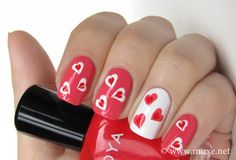 Hearts on nails design <3