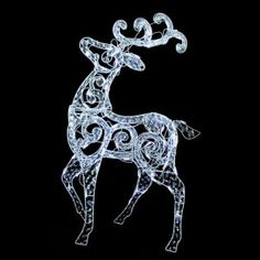 55″ Clear Acrylic LED Standing Buck Deer Christmas Yard Art Decoration
