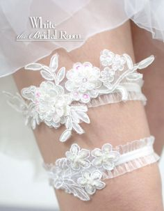 White Bridal Garter Set Flower Wedding By TheWhiteBridalRoom Handmade Weddings Crafts