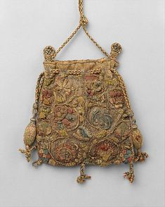 Purse Date: last quarter 16th century Culture: British Medium: silk, gold, silver, linen-The Metropolitan Museum of Art