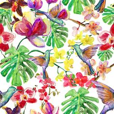 Tropical Hummingbird Photo Digital Printed Full Colour Designer Cotton Curtain Upholstery Fabric - Free UK Postage by PandorasUpholstery on Etsy https://www.etsy.com/listing/220370565/tropical-hummingbird-photo-digital