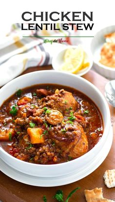 This Chicken Stew recipe has chicken thighs braised with fragrant spices, hearty lentils, sausage, sweet potato and aromatic tomato-spice broth. It is a bone-warming, chili night Chicken Dinner whi. Chicken Thigh Stew, Chicken Thighs Soup, Chicken Lentil Soup, Stew Chicken Recipe, Lentil Soup Recipes, Lentil Stew, Chicken Thigh Recipes, Recipe Stew, Pot Recipe