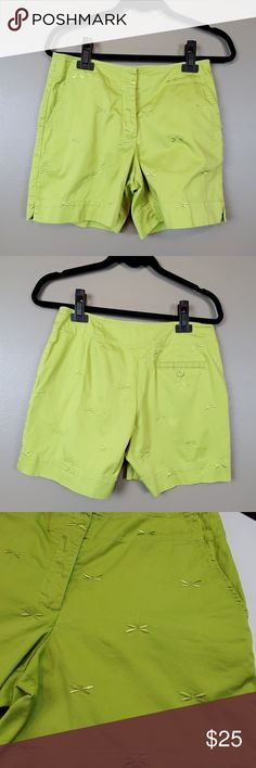 1cec23a98b Talbots Petites Lime Green Dragonfly Short Size 6p Talbots Petites Lime  Green Dragonfly Shorts Size 6p Waist side to side is 16