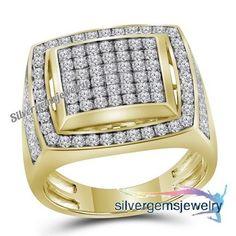 Mens Round Cut Diamond Engagement pinky Ring Band 1.10 Ct 14K Yellow Gold #Silvergemsjewery #MensWeddingBandRing