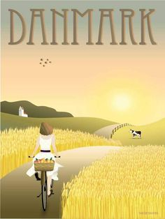 Denmark The Fields - poster Art Deco Illustration, Travel Illustration, Illustrations, Dyi Painting, Summer Poster, Denmark Travel, Colorful Drawings, Vintage Travel Posters, Beautiful Images