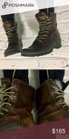Mens Sz 9 Palladium Leather Boots Worn to perfection. Wear on the inside heel. Great Condition. 💪🏽 made of brown leather comes with olive green laces. Palladium Shoes Combat & Moto Boots