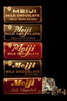 Japanese brand: Meiji Milk Chocolate 明治チョコレート (export version, I assume? Meiji Chocolate, Japanese Chocolate, Chocolate Brands, I Love Chocolate, Chocolate Shop, Famous Chocolate, Japanese Snacks, Japanese Sweets, Japanese Food