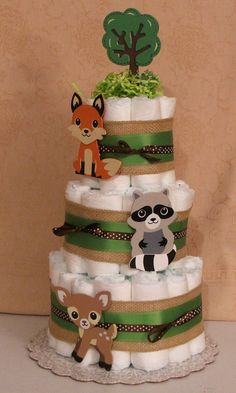 3 Tier Diaper Cake Woodland Forest Friends Clever Fox Baby Shower Centerpiece #Handmade