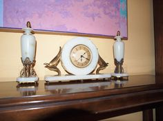1930's White Oynx Whitehall Hammond Art Deco Clock With Garnitures | Collectors Weekly