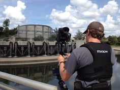 PSPB filming a flood control tunnel outlet on San Antonio River. 9/27/12