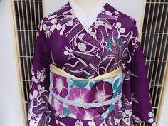 夏着物 大胆な百合柄×朝顔の刺繍絽の名古屋帯 大正浪漫コーデ♪ - 風椿のkimono便り