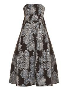 Alina metallic-jacquard strapless dress | Erdem