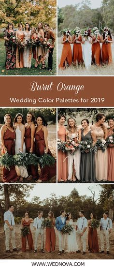 Perfect Fall Wedding Color Combos to Steal Trending 15 Ideas for Burnt orange Bridesmaid Dresses for 2019 Burnt Orange Bridesmaid Dresses, Burnt Orange Weddings, Orange Wedding Colors, Burnt Orange Dress, Bridesmaid Dress Colors, Fall Wedding Colors, Wedding Bridesmaid Dresses, Orange Orange, Dress Wedding