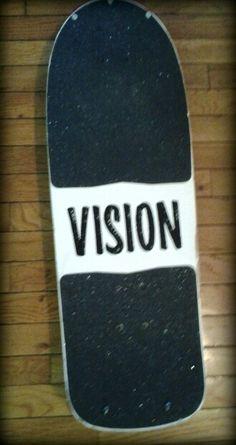Near mint 1981 vision shredder, original factory set-up Vision Skateboards, Vintage Skateboards, Skateboard Decks, Skateboarding, Mint, Logo, Wheels, Skateboards, Logos