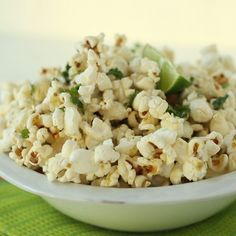 Kick up your popcorn game with this zesty cilantro lime popcorn. Swap coconut oil and cilantro for Acala Farms Cilantro Oil. For an extra kick keep the cilantro and use the Acala Farms Jalapeno Lime Oil! Vegan Recipes, Snack Recipes, Cooking Recipes, Healthy Popcorn Recipes, Vegan Popcorn, Popcorn Snacks, Popcorn Balls, Flavored Popcorn, I Love Food