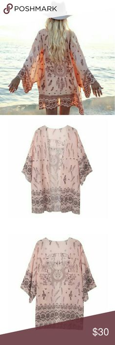 """*COMING SOON* Pink Western Print Kimono Coming Soon! Pink western print kimono 31.5"""" bust, chiffon material.  Please 'like' to bookmark! Share with other Posher's and I'll show your closet some love! Sweaters Shrugs & Ponchos"""