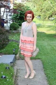 Thrift and Shout blog; what to wear to a wedding, turquoise, ruffles, dress, feminine, thrift, Goodwill, nude heels, red hair, spring fashion