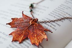 I want this so bad!   Small Fallen Copper Maple Leaf Necklace