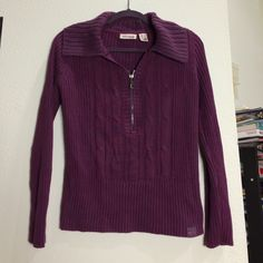 DKNY Jeans cotton sweater (large petite) 100% cotton sweater. Pretty purple shot through with grey with a cable knit design + zipper on front. From DKNY Jeans Petite. VGUC. Size is Large Petite. DKNY Sweaters