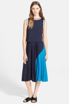 'Zeyn' Colorblock Pleated Georgette Midi Skirt
