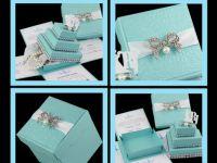 TIFFANY INSPIRED+ SHINE LIKE DIAMOND EXPLODING  BOX INVITATIONS w/ 3-TIER CAKE BOX. 3-TIER CAKE BOX CAN BE A STAND-ALONE FAVOR BOX  www.jinkyscrafts.com