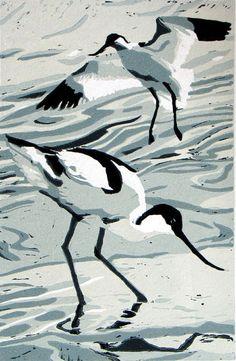 Ann Lewis - Artist/Printmaker Title: Avocets Colours: 5 colour linocut Edition No: 20 Print area size:12cm x 18.5cm