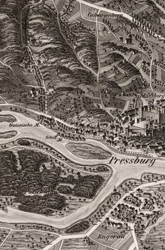 Mills valley (Mlynská dolina, Malomvölgy) in Bratislava (SK), a century depiction. Note that in place of village Engerau, one of Europe's biggest housing estates, Petržalka stands today. Bratislava, Old Pictures, Old Photos, Old Town, 19th Century, City Photo, Places, Painting, Geo