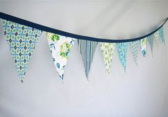 Fabric Bunting in Navy Aqua and Lime Green size by BooBahBlue, $20.00