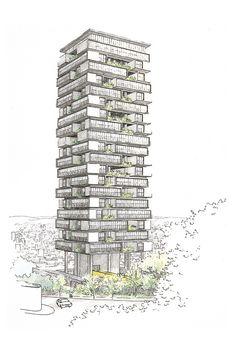 Architecture Sketchbook, Architecture Plan, Sustainable Architecture, Sustainable Design, Sustainable Energy, Mix Use Building, High Rise Building, Building Design, Croquis