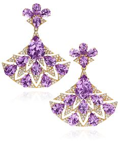 Amethyst Fan Earrings designed by sutra jewels available at cellini jewelers nyc.   25.81 carats of pear shape amethyst, and 2.21 carats of round brilliants compose these gorgeous fan earrings.  Set in 18 karat rose gold.