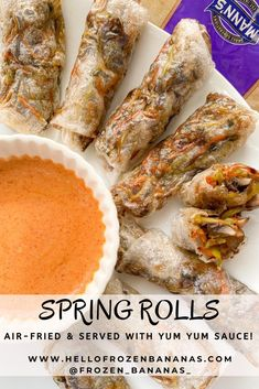 35 minutes · Vegetarian Gluten free · Serves 8 · These spring rolls are a must make! Toss that takeout menu to the side and enjoy these crispy air-fried spring rolls served with homemade yum yum sauce! Rice Paper Spring Rolls, Fried Spring Rolls, Rice Paper Rolls, Asian Recipes, New Recipes, Broccoli Cole Slaw, Rice Paper Wrappers, Recipes With Rice Wrappers, Vegetarian Spring Rolls