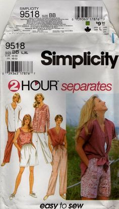 9518 Misses separates factory fold easy sewing pattern size L XL  #Simplicity #separates