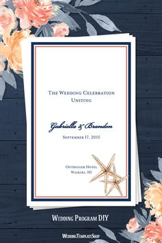 Beach Wedding Program DIY, Starfish Navy Blue & Coral Ceremony Program, Printable Templates.