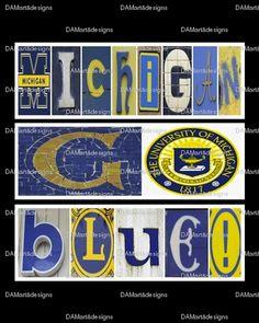 University of Michigan Go Blue Framed Alphabet Photo Art. $35.00, via Etsy.