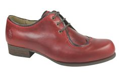 """""""Drapper"""" by Fly London, Lace up fastening, Brogue style shoe, Round toe, Patterned sock, 1 inch heel"""