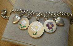 Bettelarmband Silber Email Stiefmütterchen pansy Gänseblümchen charms bracelet