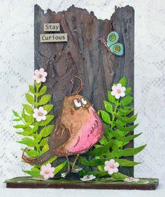 Mixed media artwork with Tim Holtz Crazy Bird, Garden Greens dies, That's Crafty! Happy New Years Eve, Happy New Year Everyone, Crazy Bird, Mixed Media Artwork, Stamp Making, Tim Holtz, Whimsical, Birds, Scrapbook