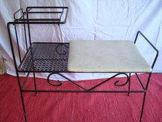 Items similar to Vintage Gossip Bench on Etsy Gossip Bench, Phone Table, Telephone, Tables, Cabinet, Chair, Trending Outfits, Storage, Furniture