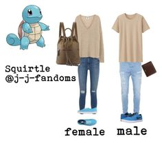 """human! Squirtle- Pokémon"" by j-j-fandoms ❤ liked on Polyvore featuring Topman, Frame Denim, Vans, Cynthia Rowley, Uniqlo, NIKE and Mulberry"