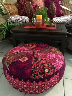 Large Bohemian Rhapsody Pouffe Cover Made in by BohoInteriors