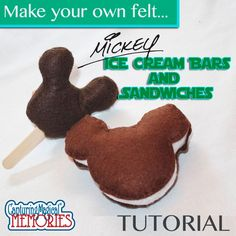 Diy Felt Mickey Ice Cream Snacks - Super cute idea for a play kitchen! #tutorial #disney #diy