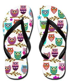 80a3d9d14d383 Zhiqing Cute Colorful Owls Soft Summer Beach Rubber Flip Flops Adults S Pink