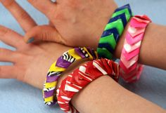 Duct Tape Spike Bracelet | Sophie's World - bangle bracelets that look like fish scales, made out of duct tape
