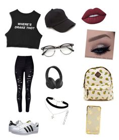"""""""Untitled #7"""" by beeneyhead on Polyvore featuring adidas Originals, rag & bone, Beats by Dr. Dre, ASOS Curve and Lime Crime"""