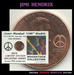 2012 Lincoln Cent JIMI HENDRIX Keepsake Coin ACEO 14-946