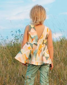 Ayda's V Back Peplum Top & Dress. PDF sewing patterns for girls sizes 2t-12 - Simple Life Company also available in baby sizes