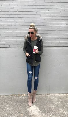 A rainy day calls for a puffer vest + top knot + lotsss of coffee ☕️☕️ My vest is only $35 (what?!) and great quality My top is now on sale for $35 + comes in a ton of colors ( I've been posting the grey version a ton ! Have a great evening http://liketk.it/2tnf2 #liketkit @liketoknow.it