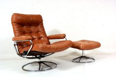Vintage 70's Chrome Ekornes Stressless Recliner Lounge by midcmad