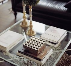 coffee table vignette... books, box and topiaries